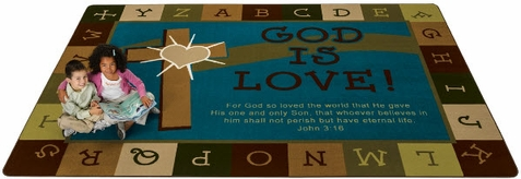 God is Love Learning Rug in Natures Colors 4' x 6'