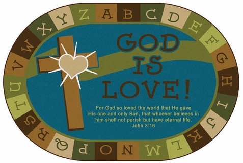 God is Love Learning Rug - Nature 8' x 12' Oval