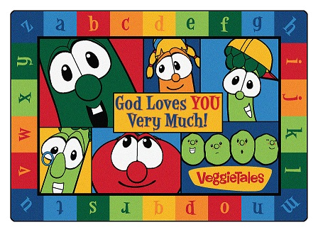 God Loves You Very Much Veggie Tales Rectangle Rug 5'5 x 7'8