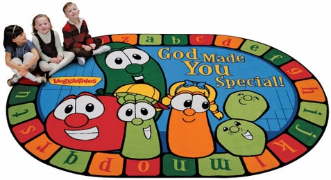 God Made You Special Veggie Tales Oval Rug 5'5 x 7'8
