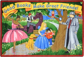 Good Books Make Good Friends Library Rug 5'4 x 7'8