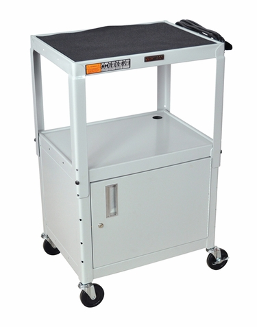 Gray Adjustable Utility Cart with Cabinet