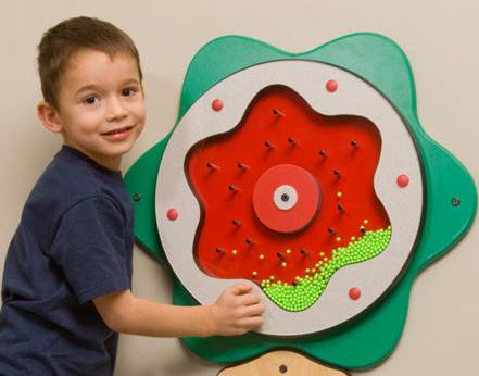 Green Plinko Wall Game with Small Beads