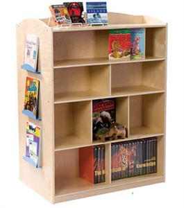 Double Sided Wood Bookcase