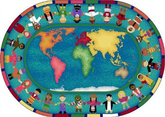 Hands Around the World Classroom Rug 7'8 x 10'9 Oval