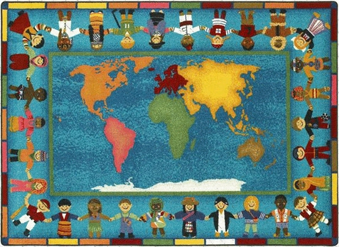 Hands Around the World Classroom Rug 7'8 x 10'9 Rectangle