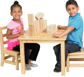 "ECR4Kids Hardwood 24"" Square Classroom Play Table"