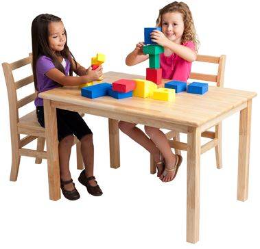 "ECR4Kids Hardwood 24"" x 36"" Rectangle Classroom Play Table"