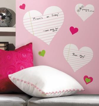 RoomMates Heart Notepad Dry Erase Peel & Stick Wall Decals