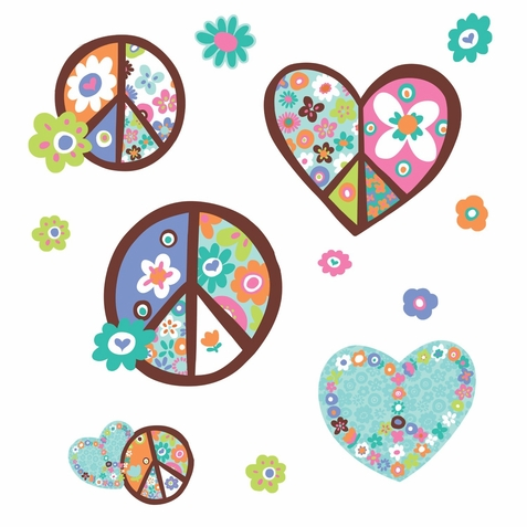 Heart & Peace Sign Peel & Stick Giant Wall Decal