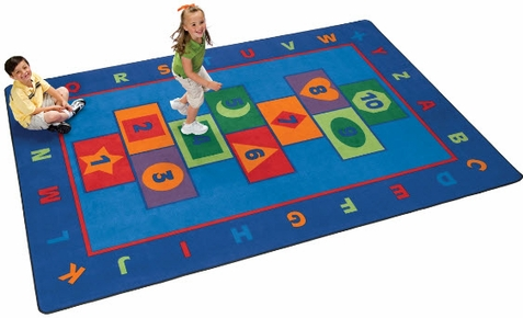 Hopscotch Learning Rug Factory Second 8'4 x 11'8 Rectangle