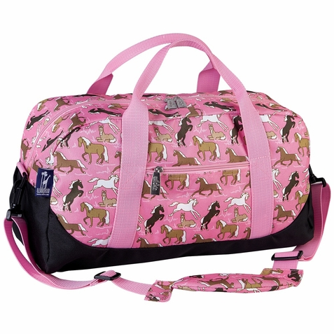 Horses in Pink Duffel Bag