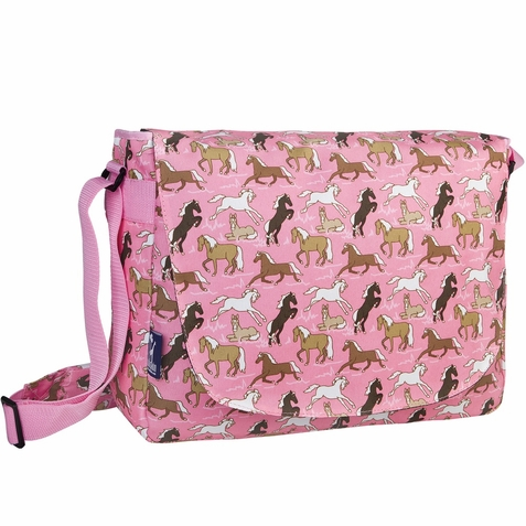 Horses in Pink Kids Laptop Messenger Bag