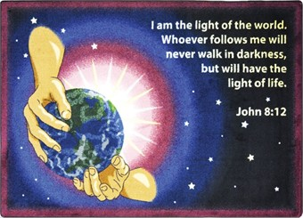 I Am the Light Sunday School Area Rug 3'10 x 5'4 Rectangle