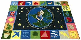 In the Beginning Faith Based Kids Rug 5'4 x 7'8 Rectangle