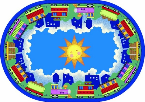 In Train-ing Kids Area Rug 10'9 x 13'2 Oval