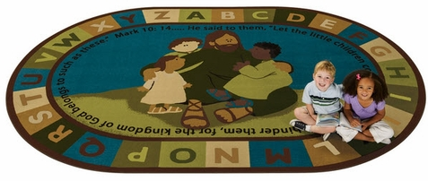 Jesus Loves the Little Children Natures Colors Factory Second Oval Rug 8' x 12'