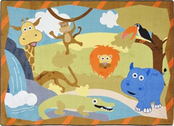 Jungle Babies Area Rug 7'8 x 10'9 Rectangle