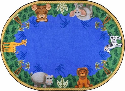 Jungle Friends Preschool Rug 5'4 x 7'8 Oval