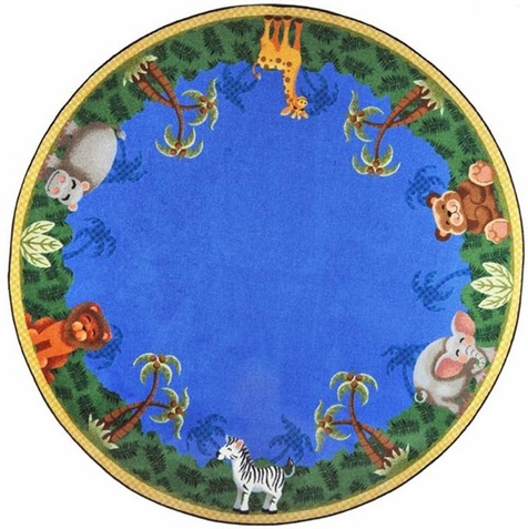 Jungle Friends Preschool Rug 7'7 Round