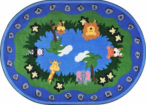 Jungle Peeps School Rug 5'4 x 7'8 Oval