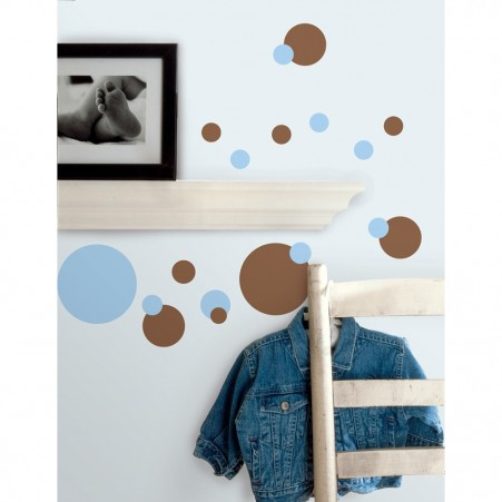 Just Dots Blue/Brown Peel & Stick Decals