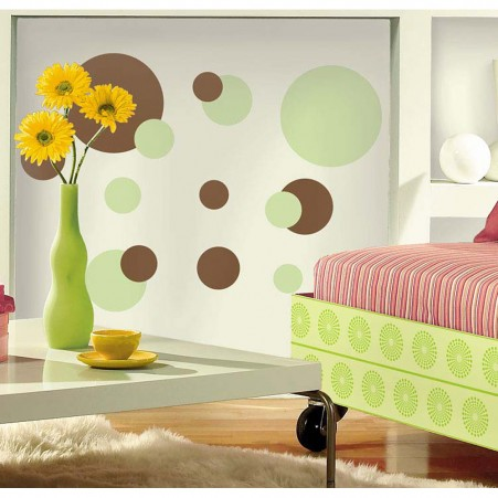 Just Dots Green/Brown Peel & Stick Appliques - Free Shipping