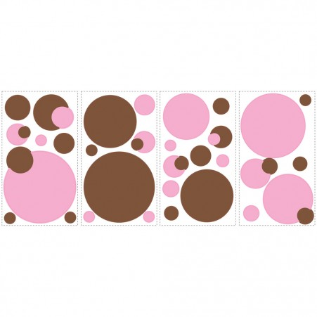 Just Dots Pink/Brown Peel & Stick Appliques - Free Shipping