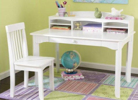 Avalon White Desk w/ Hutch and Chair - Free Shipping