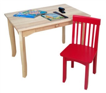 KidKraft Avalon Natural Desk and Red Avalon Chair Set