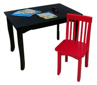 KidKraft Black Avalon Desk & Red Avalon Chair Set