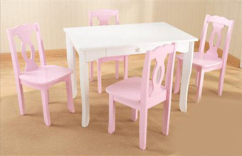 KidKraft Brighton Table with 4 Pink Chairs