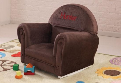 KidKraft Chocolate Velour Rocker w/ Slip Cover