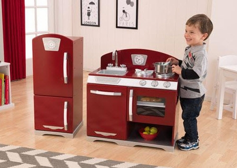 Cranberry Retro Kitchen & Refrigerator - Free Shipping