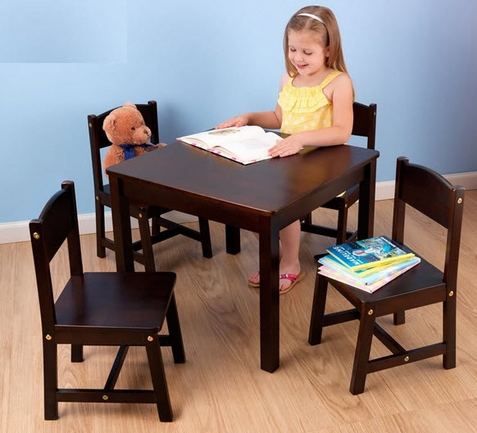 KidKraft Espresso Square Farmhouse Table w/ 4 Chairs