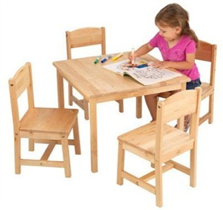 KidKraft Farmhouse Table with Four Chairs in Natural