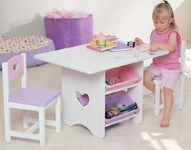 KidKraft Heart Table & Chair Set with Storage