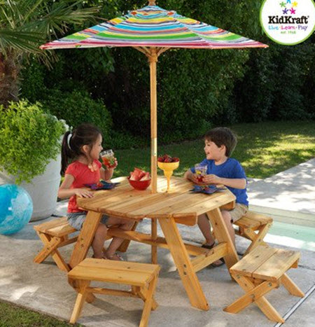 KidKraft Octagon Table Set w/ Stools & Umbrella