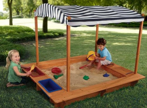 Outdoor Sandbox w/ Canopy - Free Shipping