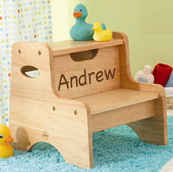 Personalized Natural Two Step Stool - Free Shipping