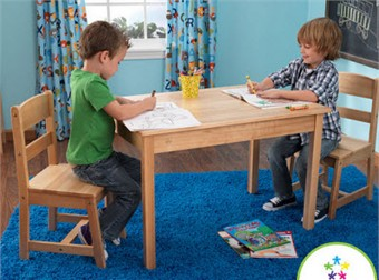KidKraft Rectangle Table & 2 Chair Set in Natural