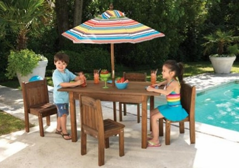 KidKraft Table & Stacking Chairs with Striped Umbrella