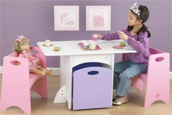 KidKraft Table with Pastel Benches and Storage Bin