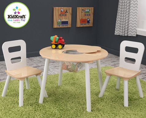 KidKraft White & Natural Round Table and Chair Set