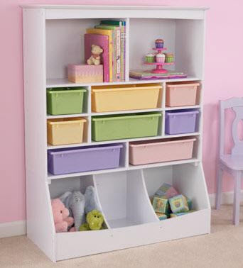 KidKraft White Wall Storage Unit w/ Bins