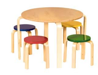 Kids Nordic Table & Stool Set in Primary