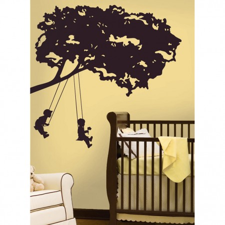 Kids on a Swing Peel & Stick Giant Wall Decal - Free Shipping