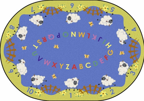 Lamby Pie Childrens Rug 5'4 x 7'8 Oval