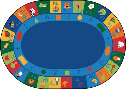 Learning Blocks Classroom Rug 6'9 x 9'5 Oval