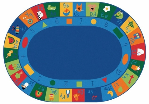 Learning Blocks Classroom Rug Factory Second 8'3 x 11'8 Oval